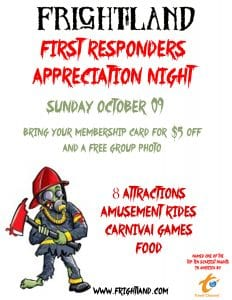 2016 first responders appreciation night at Frightland Haunted House in Delaware