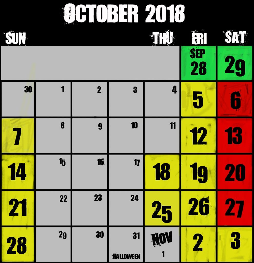 Frightland Haunted Attractions hours calendar 2018