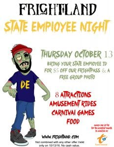 State Employee Night at Frightland Haunted House in Delaware