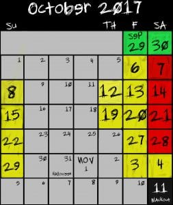 Frightland 2017 hours days calendar