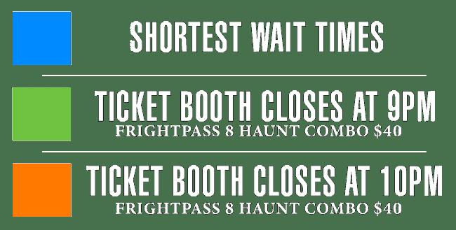 Hours for Frightland dates in September, October, and November