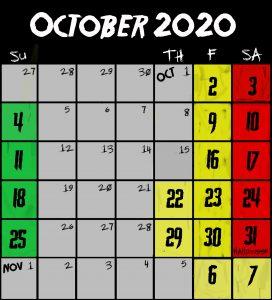 Frightland Calendar & Hours 2020